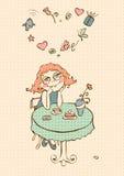 Sonhos da menina de um café ilustração royalty free