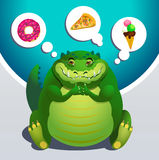 Sonhos do crocodilo sobre o alimento ilustração stock