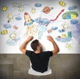Sonhos do homem de negócios Imagens de Stock