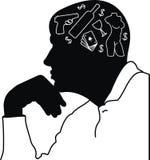 Sonhos do homem e pensamentos - grotesco. Imagens de Stock Royalty Free