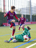 Sonia Bermudez - Women FC Barcelona team. Sonia Bermudez of FCB in action at Superliga - Women's Football Spanish League - match between FC Barcelona and Levante Stock Photos