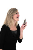 Sonia laughing. Business woman in black laughing over the phone stock photos