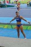 Sonia Malavisi, Italian athlete at Rio2016. Sonia Malavisi, Italian athlete consulting her coach during women's pole vault qualifying round at Rio2016 Summer stock photography