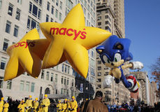 Sonic at Beginning of Parade. Sega's Sonic The Hedgehog at the beginning of the Macy's 85th Annual Thanksgiving Day Parade on November 24, 2011 in New York City Royalty Free Stock Photography