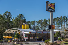 Sonic Drive In Restaurant. A modern Sonic Drive In restaurant that specializes in the food business Royalty Free Stock Images