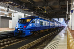 The Sonic 883 series Limited Express. FUKUOKA, JAPAN - NOVEMBER 14: Limited express in Fukuoka, Japan on November 14, 2013. The Sonic 883 series is an AC stock image
