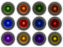sonido-sistema de los altavoces para bajas audiofrecuencias 3d en 6 diversos colores Fotografía de archivo