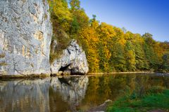 Sonkolyos. An autumn nature scene, with a river, cool blue sky and nice trees Royalty Free Stock Photography