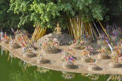 Sonkran festival ,religion flag on sand pagoda ,Thailand. Royalty Free Stock Image