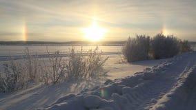 Sonne drei des russischen Nordens stock video