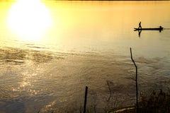 Sonnen der an Mekong Stockfotografie