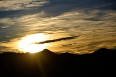 Sonnenaufgänge in Alishan Taiwan Stockbild