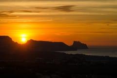 Sonnenaufgang über Altea-Bucht Lizenzfreie Stockfotos