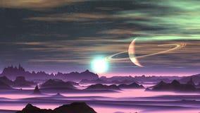 Sonnenaufgang über ausländischem Planeten vektor abbildung