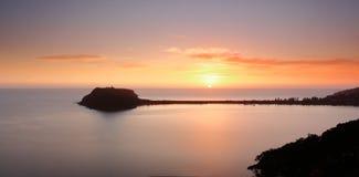 Sonnenaufgang über Barrenjoey und Pittwater Australien Lizenzfreies Stockfoto