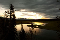 Sonnenaufgang über dem hayden Tal, Yellowstone stockfoto