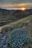 Sonnenaufgang über den Bergen Stockfoto