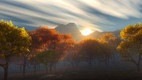 Sonnenaufgang über den gelben und roten Bäumen des Herbstes