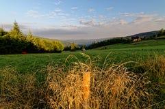Sonnenaufgang über den Wiesen Lizenzfreies Stockfoto