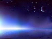 Sonnenaufgang über einem dunklen eisigen Planeten lizenzfreie abbildung