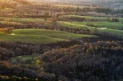Sonnenaufgang über einem Tal in Arkansas stockbild