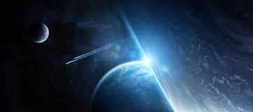 Sonnenaufgang über entferntem Planetensystem im Wiedergabeelement des Raumes 3D Lizenzfreies Stockbild