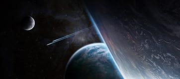 Sonnenaufgang über entferntem Planetensystem im Wiedergabeelement des Raumes 3D vektor abbildung