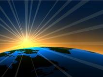 Sonnenaufgang über Erde Stockfoto