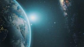 Sonnenaufgang über Erde lizenzfreies stockfoto