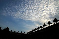Sonnenaufgang über Fatehpur Sikri, Uttar Pradesh, Indien Stockfotos