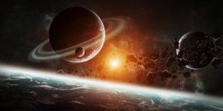 Sonnenaufgang über Gruppe Planeten im Raum lizenzfreie abbildung