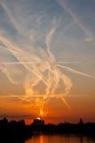 Sonnenaufgang über Hauptfluß, Frankfurt Lizenzfreie Stockbilder