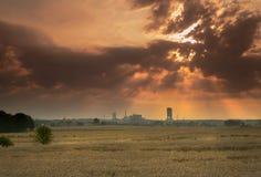 Sonnenaufgang über Kohlengrube Stockbild