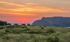 Sonnenaufgang über Molodetskiy Kurgan, wie von Lepyoshka-Berg gesehen Lizenzfreies Stockfoto
