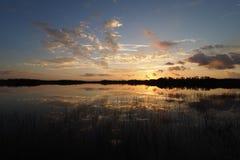 Sonnenaufgang über neun Meilen-Teich im Everglades-Nationalpark, Florida stockbild