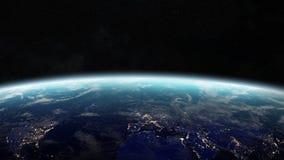 Sonnenaufgang über Planet Erde in den Wiedergabeelementen des Raumes 3D von diesem Lizenzfreie Stockbilder