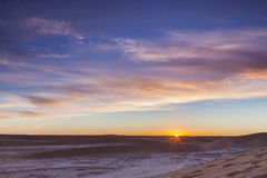 Sonnenaufgang über Sahara-Wüste Stockfotografie