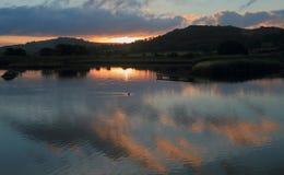 Sonnenaufgang über schwarzes Loch-Sumpf in Seaton Wetlands Stockbild
