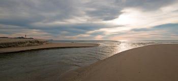 Sonnenaufgang über Strand und Flussanlegestelle in San Jose Del Cabo in Baja California Mexiko Stockbilder