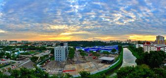 Sonnenaufgang über Toa Payoh, Singapur Stockfotografie