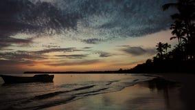 Sonnenaufgang über Tropeninselstrand- und -palmen stock video footage