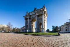 Sonnenaufgang ACRO-della Schritt-(Porta Sempione) in Milan Italy Travelin Stockfotografie