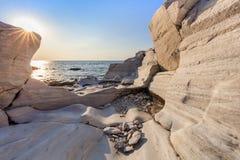 Sonnenaufgang in Aliki Thassos Insel, Griechenland Stockbilder