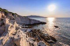 Sonnenaufgang in Aliki Thassos Insel, Griechenland Lizenzfreies Stockfoto