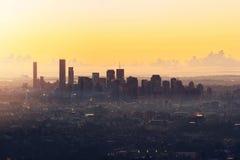 Sonnenaufgang-Ansicht der Brisbane-Stadt vom Berg-Blässhuhn-tha Lizenzfreie Stockbilder