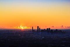 Sonnenaufgang-Ansicht der Brisbane-Stadt vom Berg-Blässhuhn-tha queensland Stockbilder