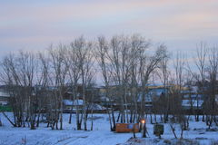 SONNENAUFGANG Ansicht von Tura Embankment zur linken Bank des Tura-Flusses Tyumen Russe Sibirien stockbilder