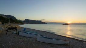 Sonnenaufgang auf Altea-Bucht stock video