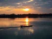 Sonnenaufgang auf dem Mekong 4000 Inseln, Laos Stockfoto