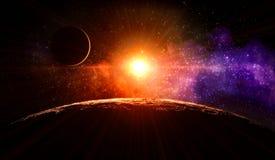 Sonnenaufgang auf dem Mond Lizenzfreies Stockfoto
